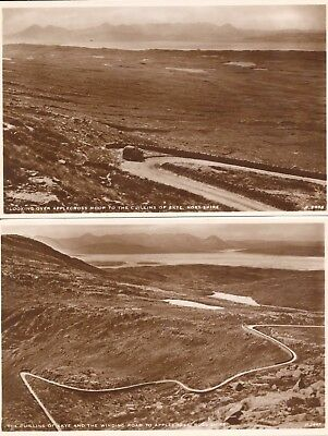 2 postcards RPPC Scotland Applecross Moor Cullins winding road Isle of Skye