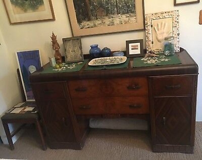 Antique Art Deco dining set 1930's Walnut veneer-Table, 6 chairs, and Buffet