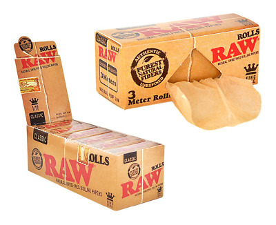 RAW Classic ROLLS King Size - Box 12 PACKS Natural Unrefined 3 Meters Rolls