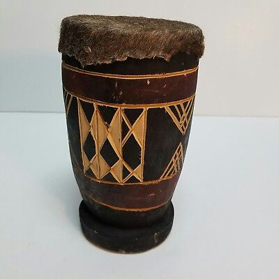 Antique African Art Tribal Carved Wooden Drum