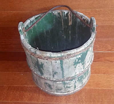 Antique LARGE Stave Wood Well Bucket Cast Iron Rings and Handle Very Old
