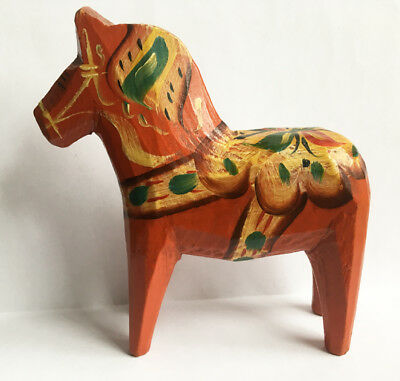 "4"" Vintage Sweden Dala Horse, Wood Folk Art"