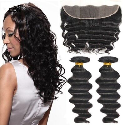 2 Paquetes Suelto Wave con 13x4 Lace Frontal Virgen Pelo Natural Negro Natural