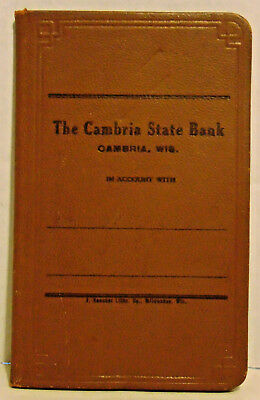 Vintage Bank Account Book, Cambria State Bank, Cambria, WI, Leather, Unused