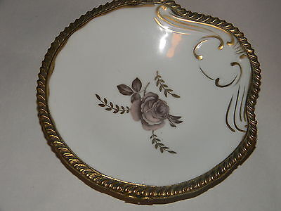 Vtg Lefton  Rose Design Plate  With Brass / Ormolu  Ornate Trim