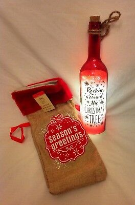 Starlight LED Christmas Bottle Inc Batteries & Gift Bag. 3 Styles to Choose from