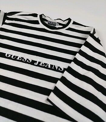 c363504c51e9 Vintage Guess Jeans USA Striped Tee Shirt 90s OG Rare Georges Marciano ASAP