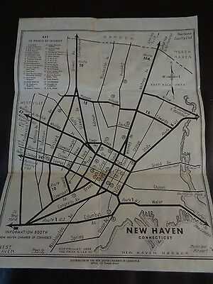 Vintage 1939 New Haven, CT Street Map (Cat.#6B016)