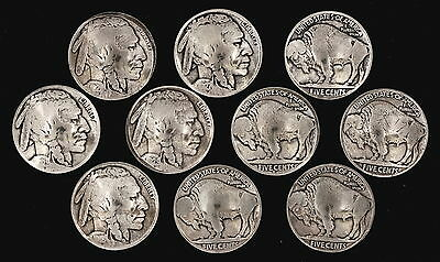 "10 Buffalo Nickel Concho Buttons - 3/16"" Chicago Screw Back - M - BIN"