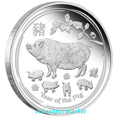 Australia 2019 The Year Of Pig Chinese Lunar Zodiac 1 oz Silver Proof Coin Perth