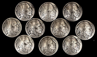 "10 Buffalo Nickel Concho Buttons - 1/8"" Chicago Screw Back - I - BIN"