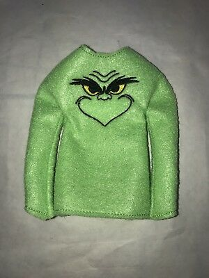 "ELF ON THE SHELF Christmas Holiday SWEATER Clothes 12"" Doll Clothes Grinch"