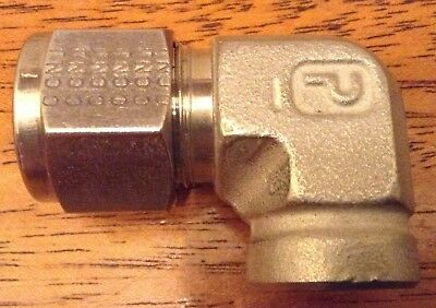 "Parker 1/2"" Tube OD x 1/4"" FNPT 90 Tube Fitting Elbow Stainless New SS-810-8-4"