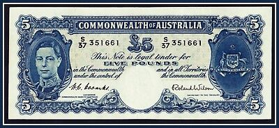 Pre-Decimal 1952 5 Pound Banknote Coombs/Wilson  S/37-351661 R-48