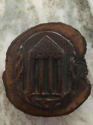 RARE JEWISH Wood Hand Carved  Temple on Wood Branch with writing on back