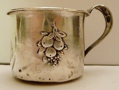 Antique Webster Sterling Silver Baby Infant Cup, Repousse Fruit Design, Monogram