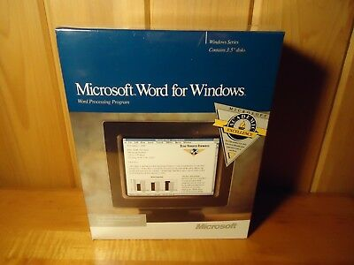 "Microsoft Word v1.1 1990 For Windows 3.0 on 3.5"" Disks - New In Box"