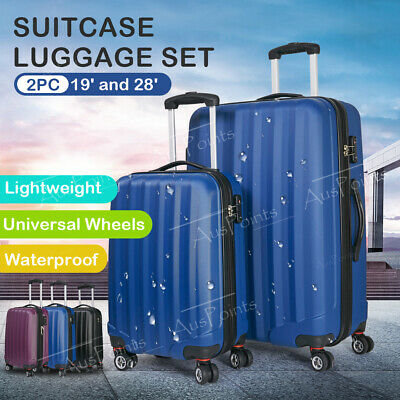 2pc Luggage Suitcase ABS Trolley Set TSA Lightweight Hard  Case Carry On Bag