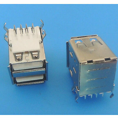 5PCS Double USB Type A Female Right Angle 8 Pin DIP PCB Socket Connector 4 pin