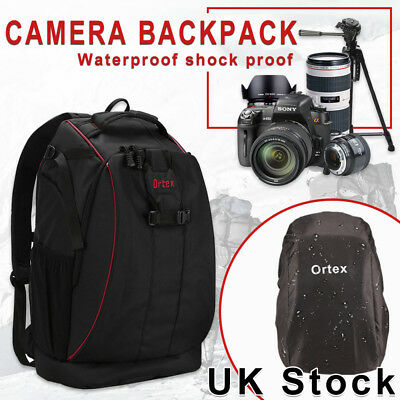 LARGE DSLR SLR Camera Backpack Rucksack Bag Case+RainCover For Nikon Sony Canon