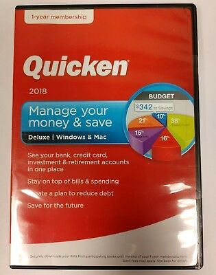 Quicken 2018 Manage Your Money & Save Deluxe Windows / Mac - Brand New Sealed