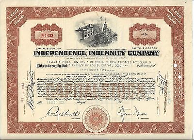Independence Indemnity Company 1932 Stock Certificate