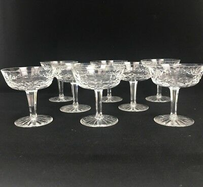 8 Waterford Ireland Crystal Lismore Cut Glass Saucer Champagne Sherbet Glasses