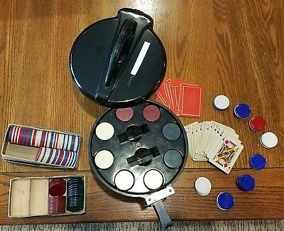 Custom Made Vintage Poker Chip Caddy with BAKELITE Chips & Measuring Tool