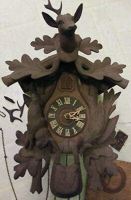 Vintage Wall Uhren Cuckoo Clock Black Forest? Germany appears Hand Carved Parts