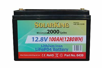 Solarking 12V 100ah Lithium Iron LiFePo4 Deep Cycle Battery 80A BMS Cell Balance