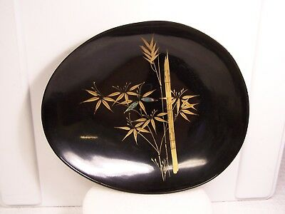 Vintage Japanese Plastic Black Lacquer Ware Hand Painted Oval Dish Bowl