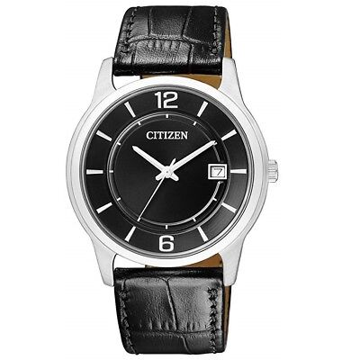 Citizen BD0021-01E Black Dial/Black Leather Strap Mens Quartz Analog Dress Watch