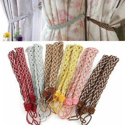 1Pair Braided Satin Rope Curtain Tie Backs Voile Tie Holdbacks Tools Acces