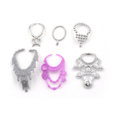 6Pcs/Set Fashion Plastic Chain Necklace For  Doll Party Accessories