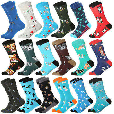 Mens combed cotton Socks Novelty Dog Wolf Patterned casual business crew Socks