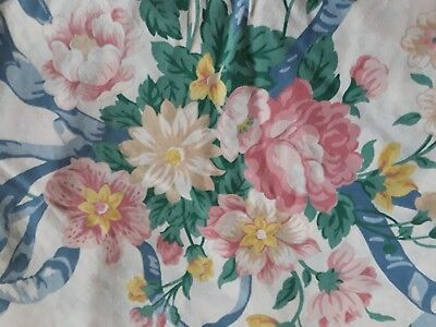 """Vtg Cannon QUEEN Fitted Sheet White Pink Roses Blue Ribbon Print Blend 9"""" Pkts"""