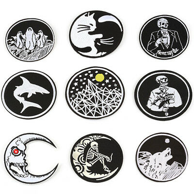 Gothic Sew On Iron On Patch Embroidered Badges Bags Hat Jeans Applique Craft