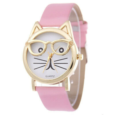 Children's Pink Fashionable Cat Themed Leather Quartz Watch