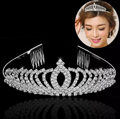 Austrian Wedding Tiara Accessory Crystal Veil Bridal Princess Hair Crown