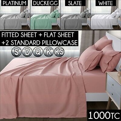 1000TC Ultra SOFT Flat Fitted Pillowcase Sheet Set Bed Microfiber 5 Colours New