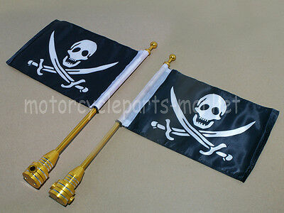 2X CNC Gold Rear Side Mount Luggage Rack Flag Pole Pirate For Harley Motorcycle