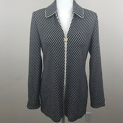 St John Marie Gray Collection 4 Blazer Black White Knit Cardigan Zip Jacket F2