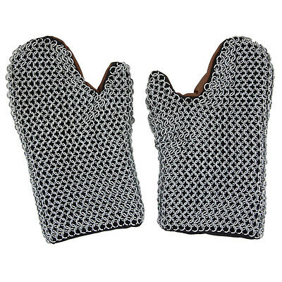 Medieval Padded 16g Functional Chainmail Battle Armor Knights Mittens Gauntlets
