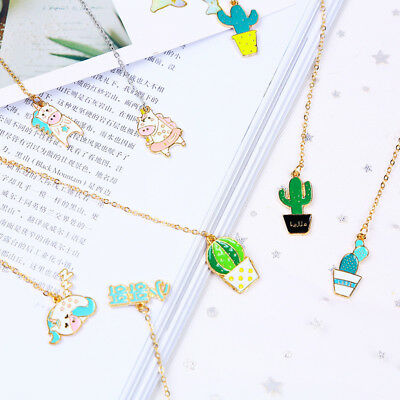 1pcs Kawaii Unicorn Fried egg Metal Bookmark Cute Animals Cactus Bookmarks New