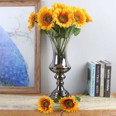 5PCS Fake Silk Artificial Sunflower Flower Stems Floral Garden Home Decor 43cm