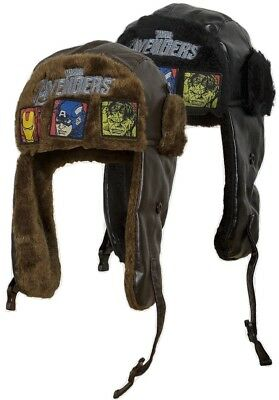 JOB LOT - 10 X Boys 'Avengers' Faux Fur Trim Winter Trapper Hats - NEW & TAGGED