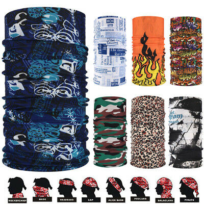 Multi-use Biker Bandana Cycling Neck Tube Scarf Snood Face Mask Warmer Headwear