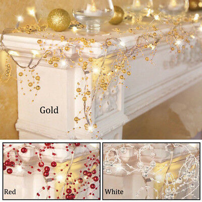 Cordless Lighted Silver Berry-Beaded Holiday Christmas Garland 3 Colors