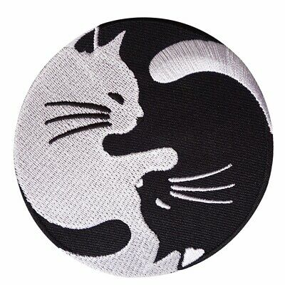 Yin Yang White Black Cat Sew Iron Embroidered Patch Badge Fabric Appliques Craft