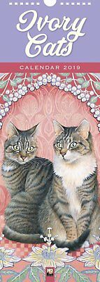 2019 Ivory Cats Slim Wall Calendar by Flame Tree, includes Postage